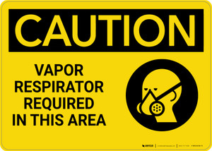 Caution: Vapor Respirator Required in This Area with Graphic - Wall Sign