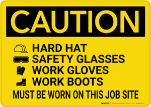 Caution: Wear Hardhat Safety Glasses Gloves Boots - Wall Sign