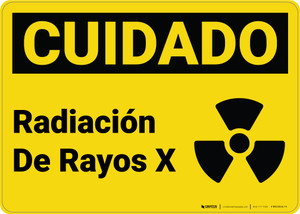 Caution: X Ray Radiation Spanish with Graphic - Wall Sign