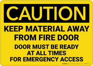 Caution: Keep Material Away From Fire Door - Wall Sign