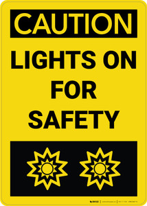 Caution: Lights On With Graphic Vertical - Wall Sign