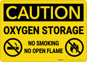 Caution: Oxygen Storage No Smoking Open Flame with Graphic - Wall Sign
