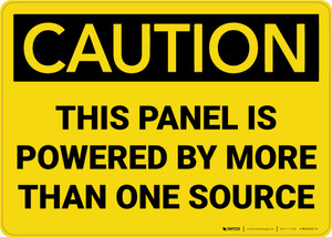Caution: Panel Powered By More Than One Source - Wall Sign