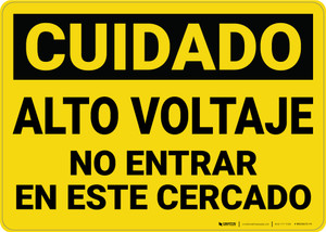 Caution: High Voltage Do Not Enter Enclosure Spanish - Wall Sign