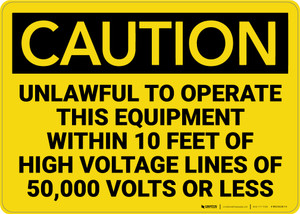 Caution: High Voltage Lines of 50,000 Volts Unlawful to Operate Equipment - Wall Sign