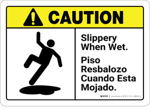 Caution: Bilingual Slippery When Wet - Wall Sign