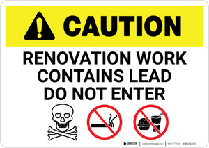Caution: Renovation Work Contains Lead Do Not Enter with Graphic - Wall Sign