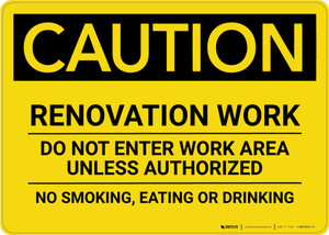 Caution: Renovation Work Do Not Enter Work Area Unless Authorized No Smoking Eating Drinking - Wall Sign