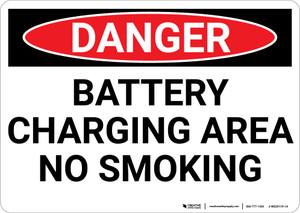 Danger: Battery Charging Area No Smoking - Wall Sign