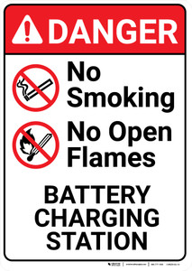 Danger: Battery Station No Smoking No Open Flames Portrait with Graphic - Wall Sign