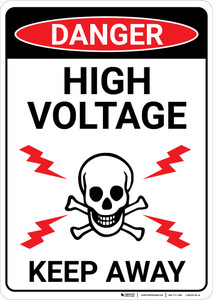 Danger: High Voltage Skull and Lightning Portrait - Wall Sign