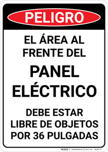 Danger: Spanish Area In Front Of Electrical Panel Portrait - Wall Sign
