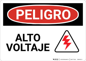 Danger: Spanish High Voltage Alto Voltaje with Hazard Icon - Wall Sign