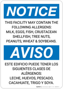 Notice: Facility Contains Milk Eggs Fish Peanuts Allergens - Wall Sign