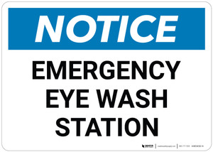 Notice: Emergency Eyewash Station - Wall Sign