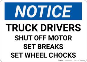 Notice: Off Motor Set Chocks - Wall Sign