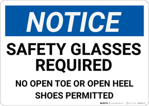 Notice: Safety Glasses Required No Open Toe Or Open Heel Shoes - Wall Sign