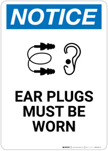 Notice: Ear Plugs Must Be Worn - Wall Sign