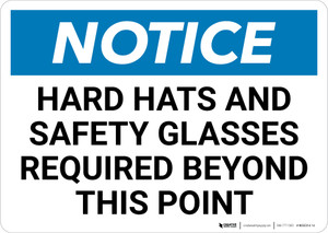 Notice: Hard Hats And Safety Glasses Required Beyond this point - Wall Sign