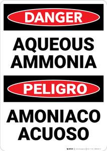 Danger: Aqueous Ammonia Bilingual Spanish - Wall Sign