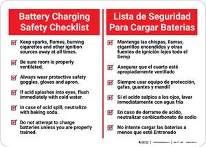 Battery Charging Safety Checklist Bilingual Spanish - Wall Sign