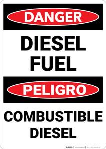 Danger: Diesel Fuel Bilingual Spanish - Wall Sign