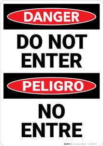 Danger: Do Not Enter Bilingual Spanish - Wall Sign