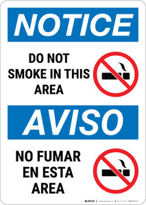 Notice: Do Not Smoke In This Area Prohibited Bilingual Spanish - Wall Sign