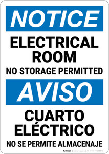 Notice: Electrical Room No Storage Bilingual Spanish - Wall Sign