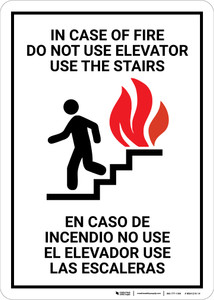 Elevator Fire Use Stairs Bilingual Spanish - Wall Sign