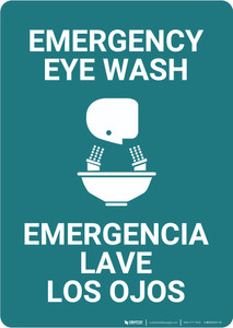 Emergency Eye Wash Bilingual Spanish - Wall Sign