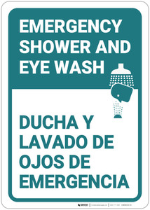 Emergency Shower Eye Wash Portrait Bilingual Spanish - Wall Sign