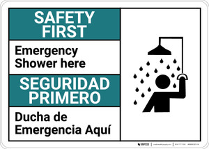 Safety First: Emergency Shower Here Bilingual Spanish - Wall Sign