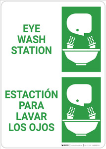 Eyewash Station Bilingual Spanish - Wall Sign