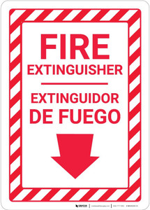Fire Extinguisher Arrow Down Bilingual Spanish - Wall Sign