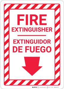 Fire Extinguisher Arrow Down Bilingual Spanish - Wall Sign