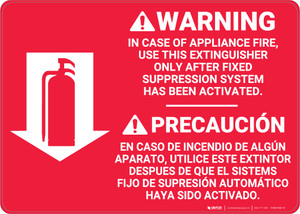 Fire Extinguisher Instruction Warning Bilingual Spanish - Wall Sign