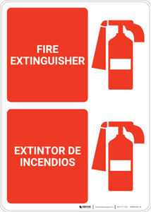 Fire Extinguisher Portrait With Icon Bilingual Spanish - Wall Sign