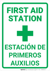 First Aid First Aid Station Bilingual Spanish - Wall Sign