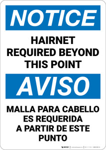 Notice: Hairnet Required Beyond This Point Bilingual Spanish - Wall Sign