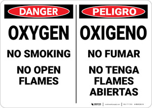 Warning: Hazard Oxygen No Smoking Bilingual Spanish - Wall Sign