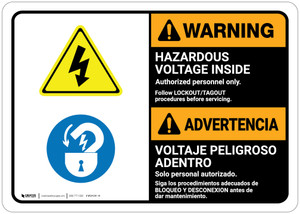 Warning: Hazardous Voltage Follow Lockout Procedures Bilingual Spanish - Wall Sign