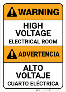 Warning: High Voltage Electrical Room Bilingual Spanish - Wall Sign