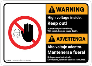 Warning: High Voltage Inside Keep Out Landscape Bilingual Spanish - Wall Sign