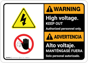 Warning: High Voltage Keep Out Bilingual Spanish - Wall Sign