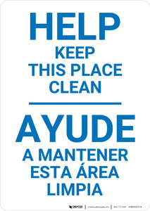 Housekeeping Clean Bilingual Spanish - Wall Sign