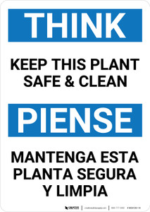 Think: Keep This Plant Safe And Clean Think Bilingual Spanish - Wall Sign