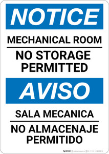 Notice: Mechanical Room No Storage Bilingual Spanish - Wall Sign