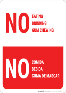 No Eating Drinking Gum Chewing Bilingual Spanish - Wall Sign