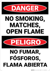 Danger: No Smoking Matches Flames  Bilingual Spanish - Wall Sign